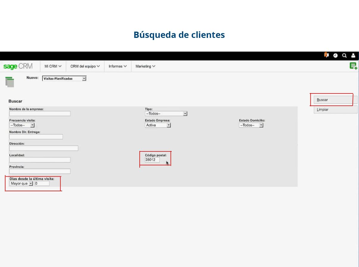 Software de gestión de gastos - búsqueda de clientes